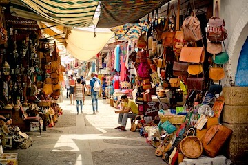 Leather goods for sale in souk